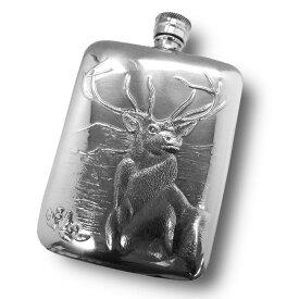 イギリス製 ピューター スキットル ハイランド 180ml 6oz 英国 AEW社 ヒップフラスク ボトル 携帯 水筒 アウトドア キャンプ スコッチ ウィスキー 蒸留酒 メンズ ギフト プレゼント 贈り物 スコットランド 牡鹿