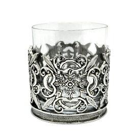 ロックグラス 250ml ピューター装飾 英国製 A.E.Williams フローラル 花 アルコール お酒 大人 かっこいい ギフト プレゼント 贈り物 家飲み