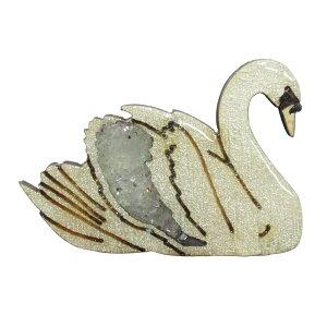 ハンドメイド 木製 ピンバッジ 白鳥 スワン 英国製 ベクベクメイクス BekbekMakes 動物 鳥 ピンズ ブローチ おしゃれ かわいい 軽い メール便OK