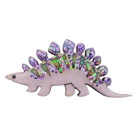 ハンドメイド 木製 ピンバッジ 恐竜 ステゴサウルス パープル 英国製 ベクベクメイクス BekbekMakes ピンズ ブローチ おしゃれ かわいい 軽い メール便OK
