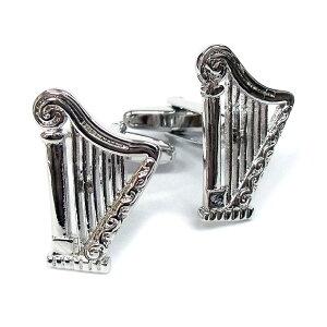 カフスリンクス ハープ 英国カドガン社 カフスボタン スーツ おしゃれ かわいい メンズ レディース 竪琴 音楽 楽器 メール便OK