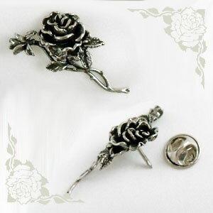 ピンバッジ ラペルピン ピンズ スーツ メンズ レディース 燻 いぶし 銀 800 コンチネンタル かわいい おしゃれ 花 薔薇 バラ ばら シルバー ピンブローチ L ローズ イタリア I GEMELLI社