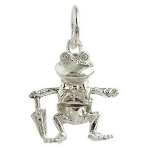 カエル 傘 シルバー チャーム イギリス製 アクセサリー パーツ ネックレス ピアス ブレスレット 銀 925 かわいい ギフト プレゼント 贈り物 メール便OK