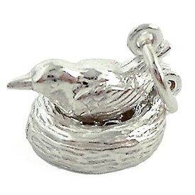 ネストバード 鳥 親子 シルバー チャーム イギリス製 アクセサリー パーツ ネックレス ピアス ブレスレット 銀 925 かわいい ギフト プレゼント 贈り物 メール便OK
