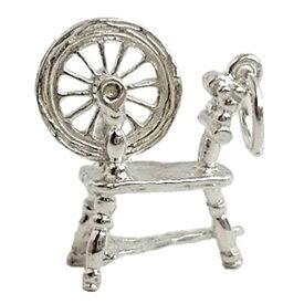 糸車 糸巻き機 シルバー チャーム イギリス製 アクセサリー パーツ ネックレス ピアス ブレスレット 銀 925 かわいい ギフト プレゼント 贈り物 メール便OK