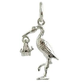 コウノトリ シルバー チャーム イギリス製 アクセサリー パーツ ネックレス ピアス ブレスレット 銀 925 かわいい ギフト プレゼント 贈り物 メール便OK