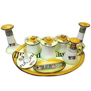 アンティーク 陶器 ドレッシングセット 薔薇柄 ヴィンテージ パウダールームセット 化粧 メイク 収納 インテリア 雑貨 おしゃれ かわいい キャンドルホルダー スタンド 蝋燭立て