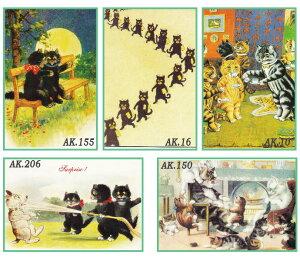 猫の英国製グリーティングカード 封筒つき 英国直輸入、ルイス・ウェイン(Louis Wain1860−1939年)はじめ他イラストレーターの猫カード メール便OK レトロ おしゃれ かわいい 動物 ネコ