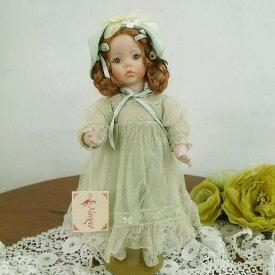 Marigio マリジオ 陶製 ビスクドール 少女(グリーン・2) イタリア マリア・ロッシ 作