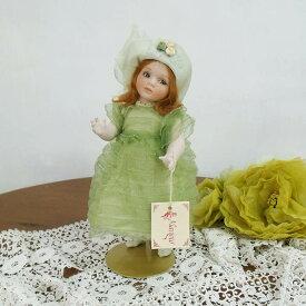 Marigio マリジオ 陶製 ビスクドール 少女(グリーン・ミニ) イタリア マリア・ロッシ 作