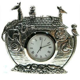 ノアの方舟 置時計 ピューター製 英国 AEW社 インテリア 雑貨 卓上 アナログ クロック ギフト プレゼント 贈り物 箱舟 聖書