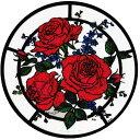 ステンドグラス シール レッドローズ 1枚入り インテリア 窓 ガラス用 シート フィルム ステッカー 花 薔薇 バラ 英国製 メール便OK