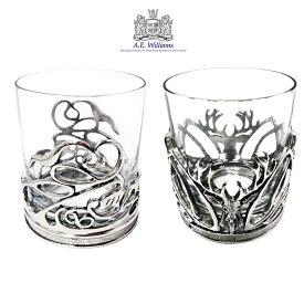 ロックグラス 250ml ピューター装飾 英国製 A.E.Williams スワール スタッグ アルコール お酒 大人 かっこいい ギフト プレゼント 贈り物 家飲み