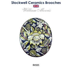 陶器 ブローチ ウィリアムモリス ストックウェルセラミックス 手作り アクセサリー かわいい イギリス お土産 William Morris 花 ギフト プレゼント 贈り物