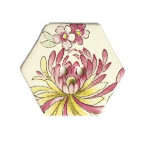 英国製 陶器ボタン 花柄 六角形 30mm 二つ穴 ストックウェルセラミックス BF1676 手作り ハンドメイド かわいい ヘキサゴン メール便OK