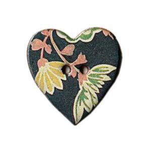 英国製 陶器ボタン ワーナーテキスタイル 植物柄 ハート 28mm 二つ穴 ストックウェルセラミックス BW33 手作り ハンドメイド かわいい Warner Textile メール便OK