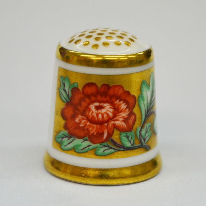 ヴィンテージ ソーイング 裁縫 アイテム インテリア 雑貨 かわいい 指貫 指ぬき Royal Crown Derby アンティーク 陶磁器 シンブル 1985年頃 The Golden Flower 1795 英国 ロイヤルクラウンダービー
