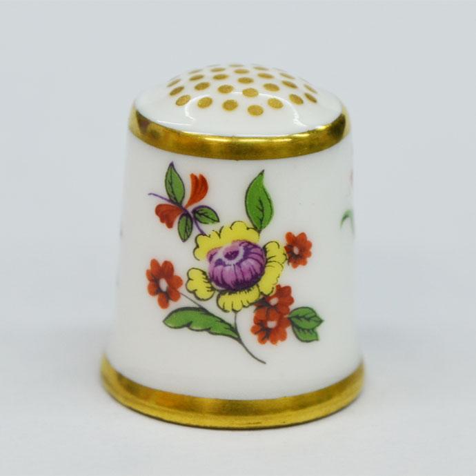 ヴィンテージ ソーイング 裁縫 アイテム インテリア 雑貨 かわいい 指貫 指ぬき Royal Crown Derby アンティーク 陶磁器 シンブル 1985年頃 The Flower Sprig 1752 英国 ロイヤルクラウンダービー