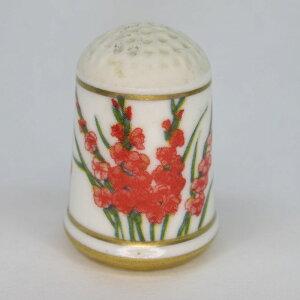 アンティーク裁縫、ソーイング シンブル・指ぬき フランクリンミント(アメリカ) オランダの花シリーズ 1978年頃 陶磁器製