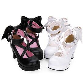 おでこ靴 シンプル定番ロリータパンプス ロリータ靴 リボン ロリータ 靴 メイド靴 ロリィタ靴 ブラック 黒 ホワイト 白 ロリータシューズ ストラップパンプス 厚底パンプス お嬢様 お姫様風 ロリータファッション お茶会 受注生産品