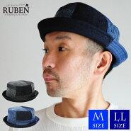 帽子ポークパイハットメンズレディースデニムパッチワークRubenルーベン