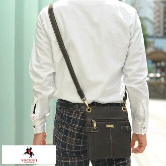維斯康蒂立式苗條肩袋新 [S] 棕色 18511S / 男人的 / 迷你肩包垂直 /iPad 迷你皮革皮革皮具、 包袋、 皮革包油皮革、 薄扣 / /