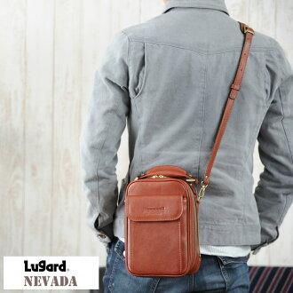 盧 2way 框肩內華達州 / 男人的 / 迷你肩袋 / 垂直型 2way / / 皮革牛皮皮革袋挎包 / 青木袋製造的日本 / 皮革袋 /