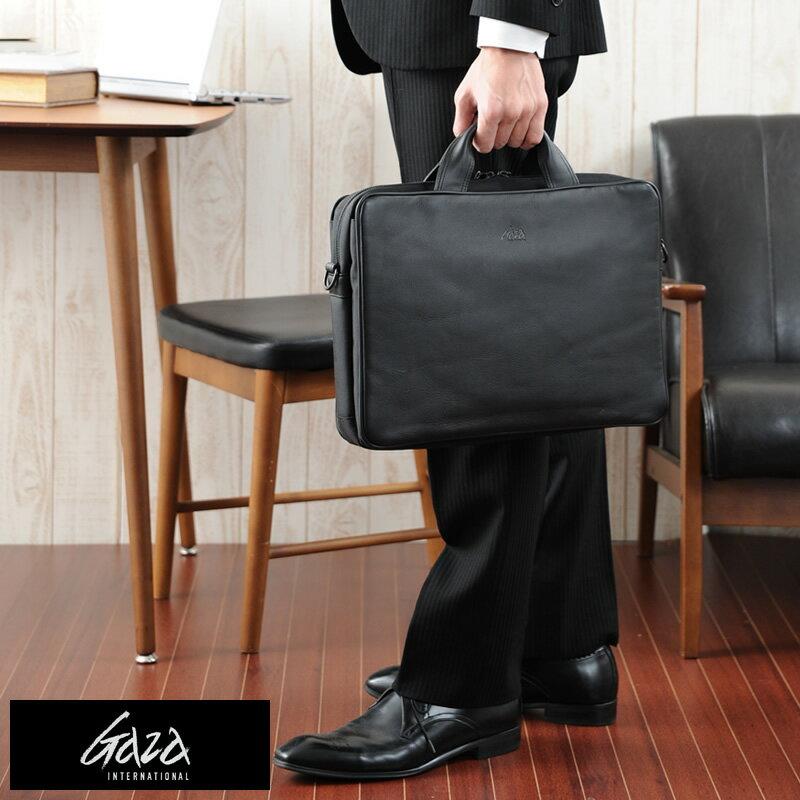 青木鞄 GAZA ブリーフケース LOAM ブラック No.6122-10 男性用 メンズ ビジネスバッグ 2way A4 iPad 本革 牛革 レザー 鞄 かばん 日本製 青木鞄 軽量 【送料無料】 【楽ギフ_包装】