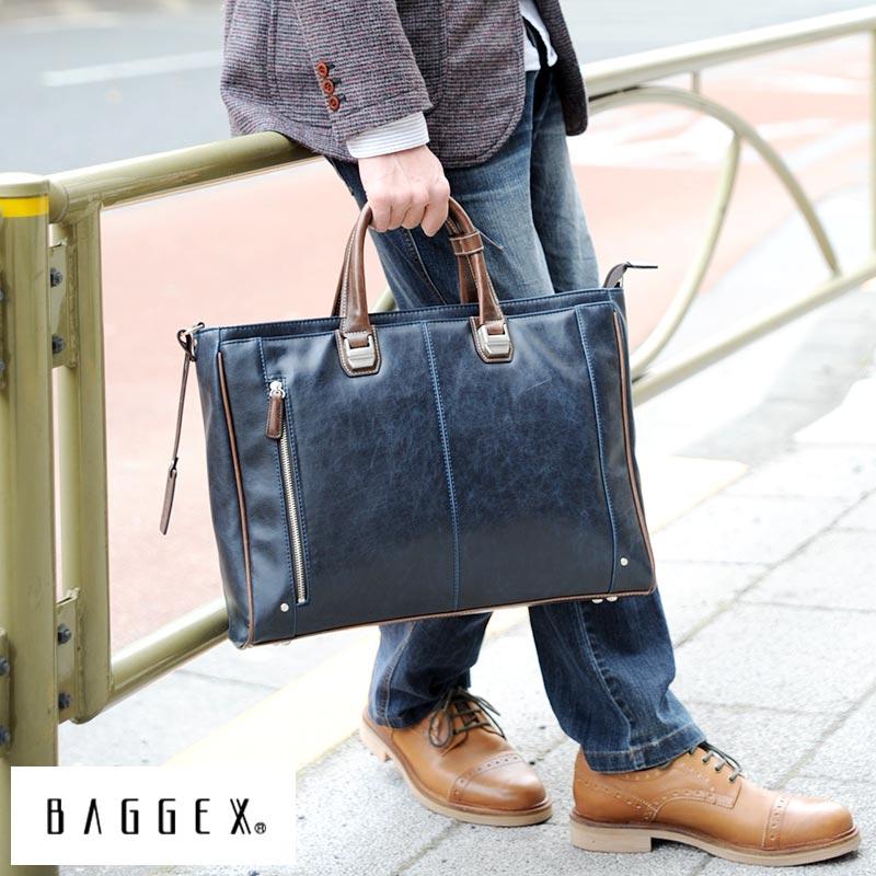 BAGGEX ビジネスバッグ メンズ TREASURE ブリーフケース 通勤 カジュアル B4 肩掛け ショルダー 自立 底鋲 合皮 柔らかい PC 書類 鞄 かばん バッグ 【送料無料】 【楽ギフ_包装】