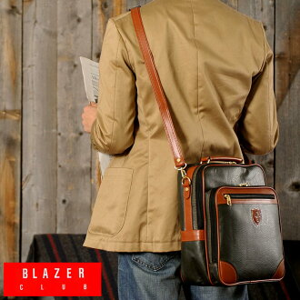 BLAZERCLUB 세로 숄더 가방/남성용 여성용/숄더백/기울기 벼랑 가방/B5 iPad/합 피/가방 가방/일본 제품/멋쟁이/경량//