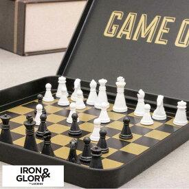 チェス セット Iron&Glory ポータブル チェスセット Game On ゲーム 駒 携帯用 持ち運び ボードゲーム 旅行 遊び インテリア 飾り