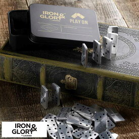 ドミノ牌 Iron&Glory 携帯ドミノセット ダブル・シックス Play On 説明書付き 洋風 遊び おしゃれ 本物 メンズ 男性 かっこいい インテリア オブジェ 飾り
