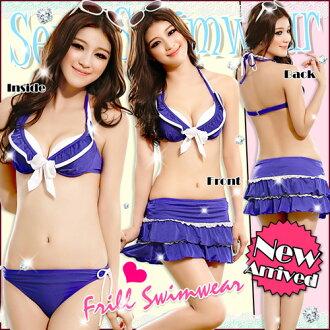 女性泳裝泳裝絲比基尼分離泳裝比基尼女士裙子 3 點設置設置的模式有趣的禮品包裝 SW 3