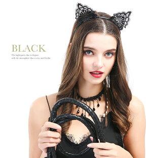 コスプレハロウィン猫耳カチューシャセクシー可愛いネコ耳花柄レース仮装黒猫白猫コスプレ小物ヘアバンドヘッドドレスコスチュームコスプレグッズ結婚式大人子供ヘッドアクセ