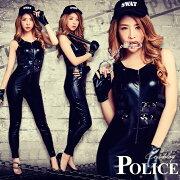 ハロウィンコスプレポリスSWAT婦人警官スワットコスチューム衣装仮装変装オールインワンブラック黒キャップ手袋警棒手錠5点セットハロウィンコスプレイベント用cosplay通販