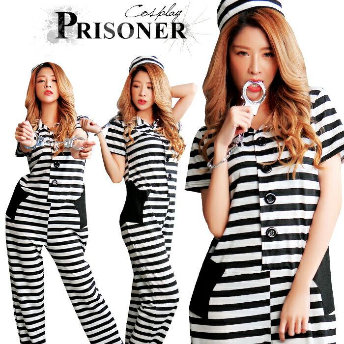 ハロウィン コスプレ 囚人 仮装 衣装 囚人服 コスチューム 大きいサイズ メンズ レディース 長袖 ボーダー 長ズボン つなぎ 怪盗 ロングパンツ ユニセックス おもちゃの手錠 セット プリズナー オールインワン 男女兼用 通販