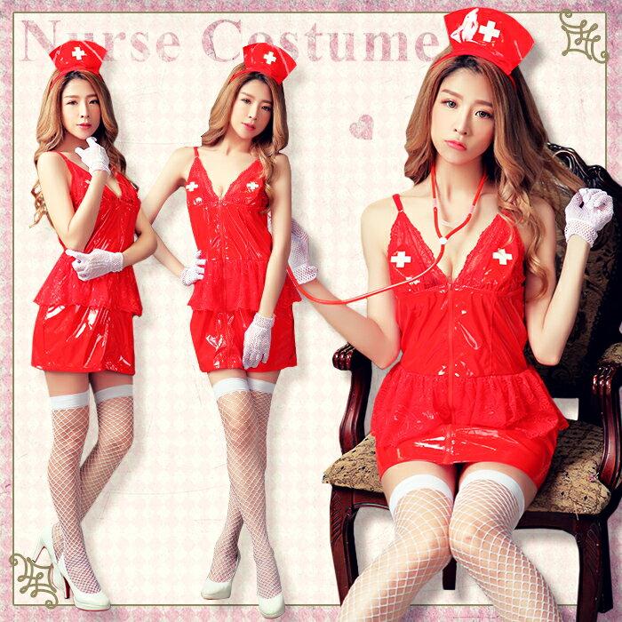 ハロウィン コスプレ ナース コスチューム ナース服 セクシー 仮装 red 赤 ナースコスプレ セクシー ハロウィン仮装 コスプレ衣装 レディース 通販 おもちゃ 聴診器 大人 女性