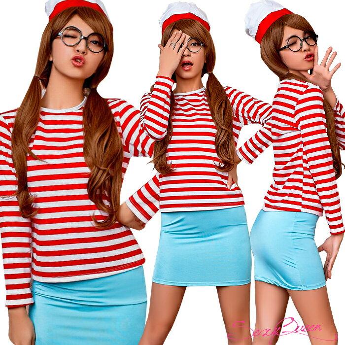 【ワンコイン】【返品交換不可商品】 コスプレ ハロウィン 大きいサイズ 探せ ボーダーシャツ 帽子 スカート セット 囚人服 囚人 レディース コスチューム レディース 赤白 ボーダー 衣装 ハロウィン衣装 仮装 キャラクター