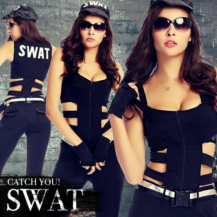 スワット SWAT コスプレ ハロウィン スワット ポリス 警察 メンズ セクシー アーミー コスプレ 婦人警官 ハロウィン コスチューム こすぷれ POLICE 制服 仮装 衣装 オールインワン halloween レディース 大人用 イベント cosplay
