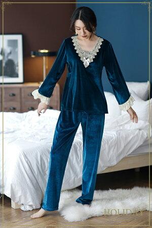【送料無料】ルームウェア上下セットセットアップベロア生地パンツ可愛いルームウェアレディースルームウェアレース冬長袖セクシーパジャマ長袖ルームウェアパジャマレディースネグリジェ寝巻き可愛い部屋着