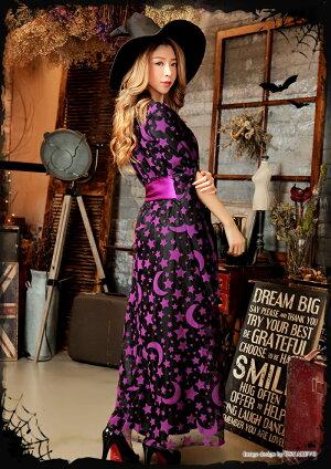 ハロウィンコスプレ魔女仮装ウィッチコスプレ魔法使いコスチューム大人レディース衣装変装魔女ハット帽子ロングワンピース黒紫可愛いコスプレハロウィン仮装ハロウィン衣装cosplaycostume通販