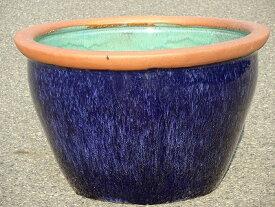 水鉢 18【青釉】Dサイズ 睡蓮鉢 水鉢 メダカ 金魚 飼育 鉢