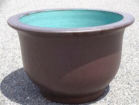 水鉢 8【黒釉】 Aサイズ 大きい水鉢 大きい睡蓮鉢 メダカ 金魚鉢 きれいな睡蓮鉢