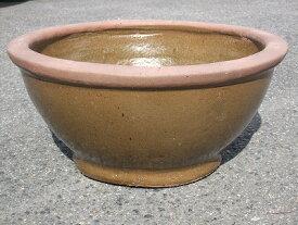 水鉢1-C【あめ釉】Cサイズ 睡蓮鉢 水鉢 メダカ 飼育 鉢