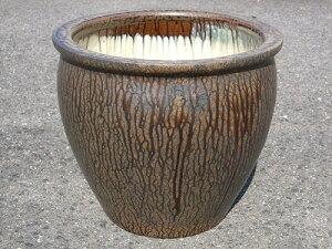 【送料無料】水鉢 2【灰釉】E-特サイズ 睡蓮鉢 水鉢 メダカ 飼育 鉢 金魚鉢