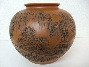 正弥作 朱泥大花瓶(山水彫り11号大丸)