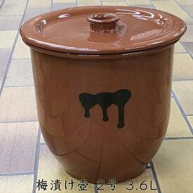 【日本製】梅漬物容器 常滑焼 かめ 蓋付 2号 3.6L【味噌造り】【梅干造り】【ぬか漬け】【お漬け物】