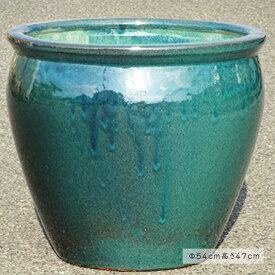 水鉢 2【青釉】Cサイズ 睡蓮鉢 水鉢 メダカ 金魚 飼育 鉢 送料無料