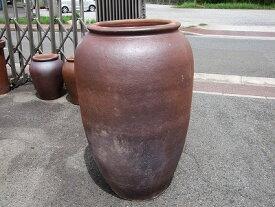 大壷【焼締め】特大 大きい壺 シック 傘立て 飾り インテリア 壺