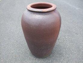 大壷【焼締め】中 大きい壺 シック 傘立て 飾り インテリア 壺